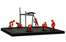 PITSTOP Mechanic Set with 6 Figurines + Post and Cables - red